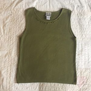 Olive Green Silk Blend Top with Embroidered Detail